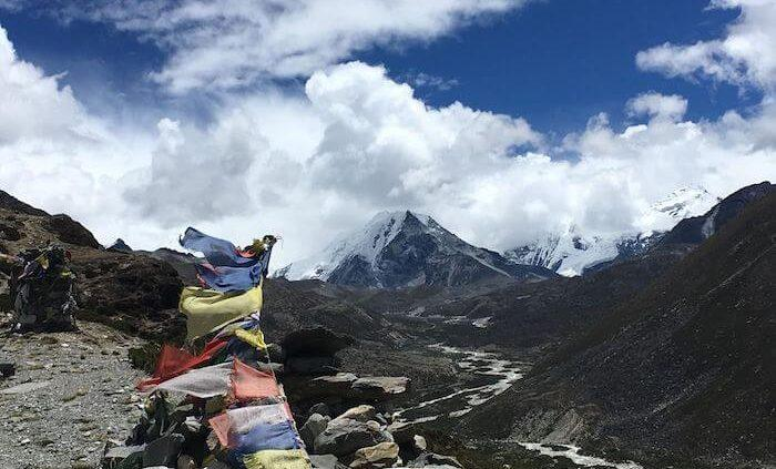 Everest with flags