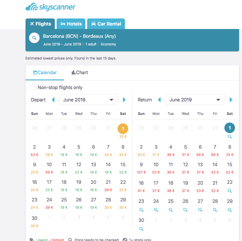 How to reduce travel costs -Skyscanner- Input whole month for cheaper flights