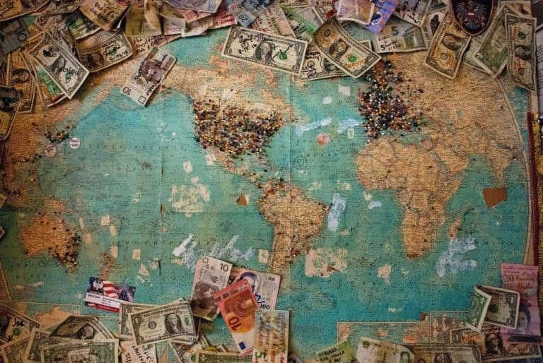 Picture of map with money