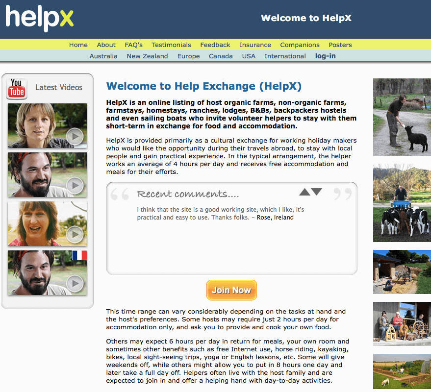 free accommodation for travellers using HelpX