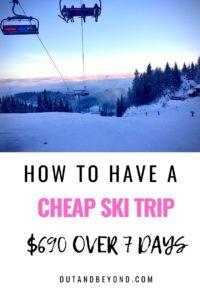 Learn how to have a cheap ski trip and save money while on a cheap family ski trip. Budget travel while you are skiing! Skiing doesn't need to be expensive. Use these tips tp have a cheap ski trip #cheapskitrip #cheapfamilyskitrip #budgettravel