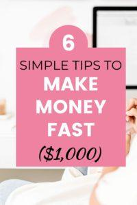 Learn how to make money fast, and earn extra cash, online, at home using these 6 simple tips. Perfect for college students and work at home moms. Pay off debt fast and earn a passive income #extracash…
