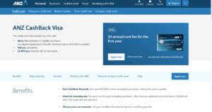 ANZ Cash Back Visa card