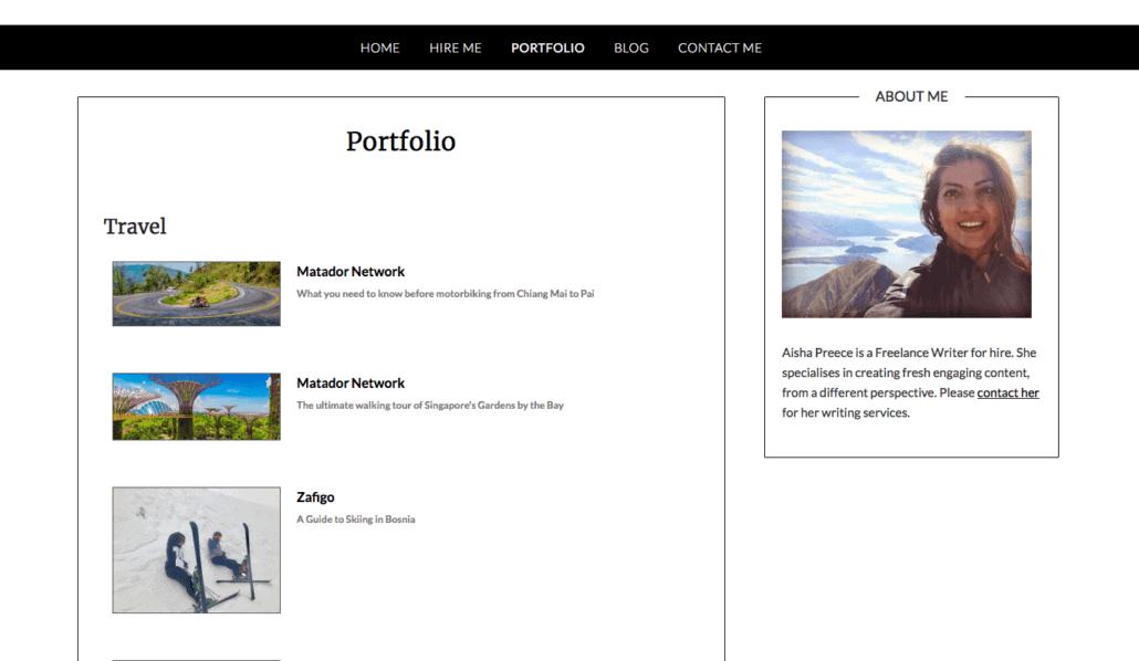 How to create a freelance website - a portfolio tab