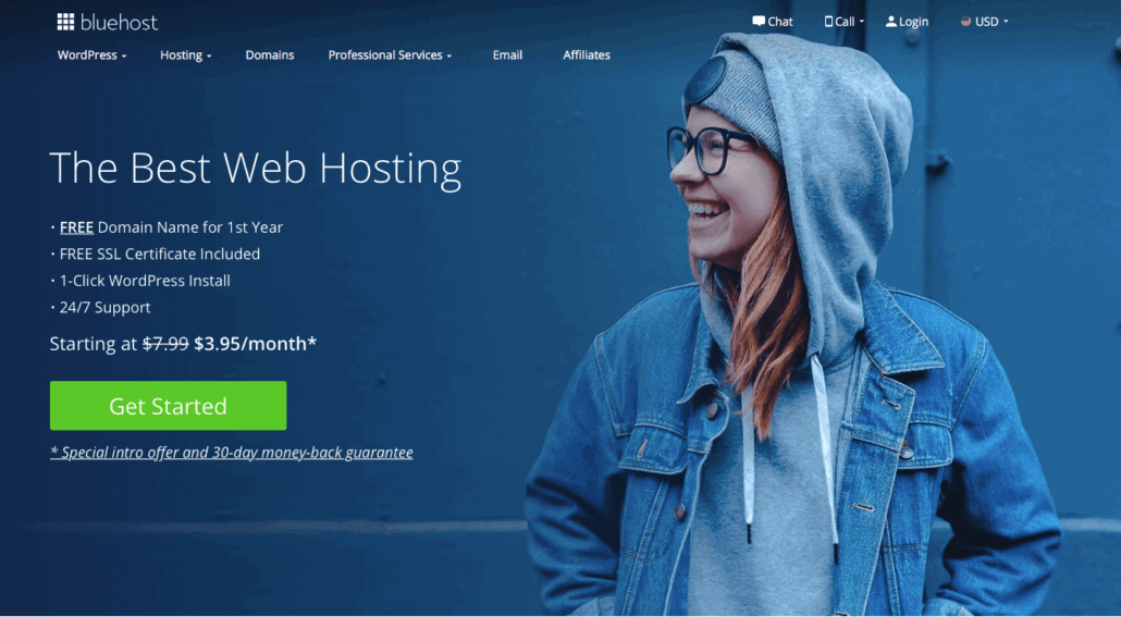 how to create a freelance website- bluehost welcome page
