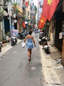 striding through vietnam in a cute dress