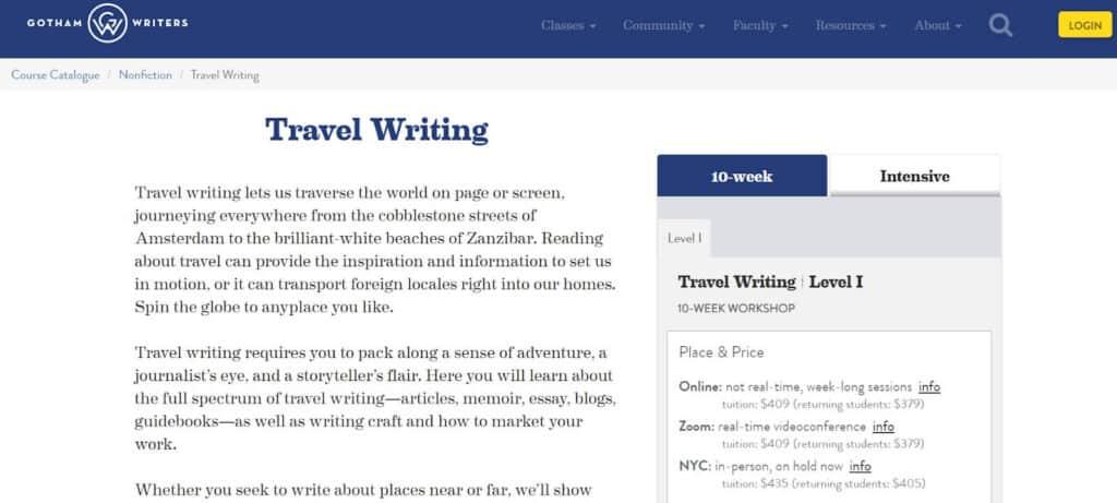 travel writing courses gotham