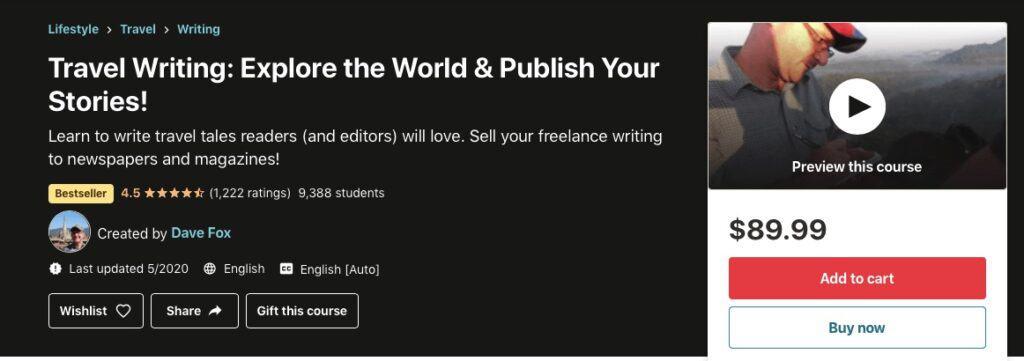 travel writing courses udemy
