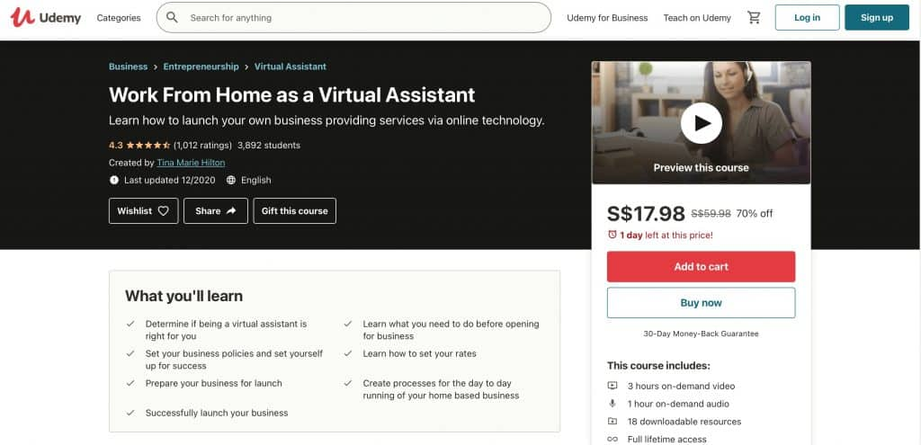 become a virtual marketing assistant with this Udemy course